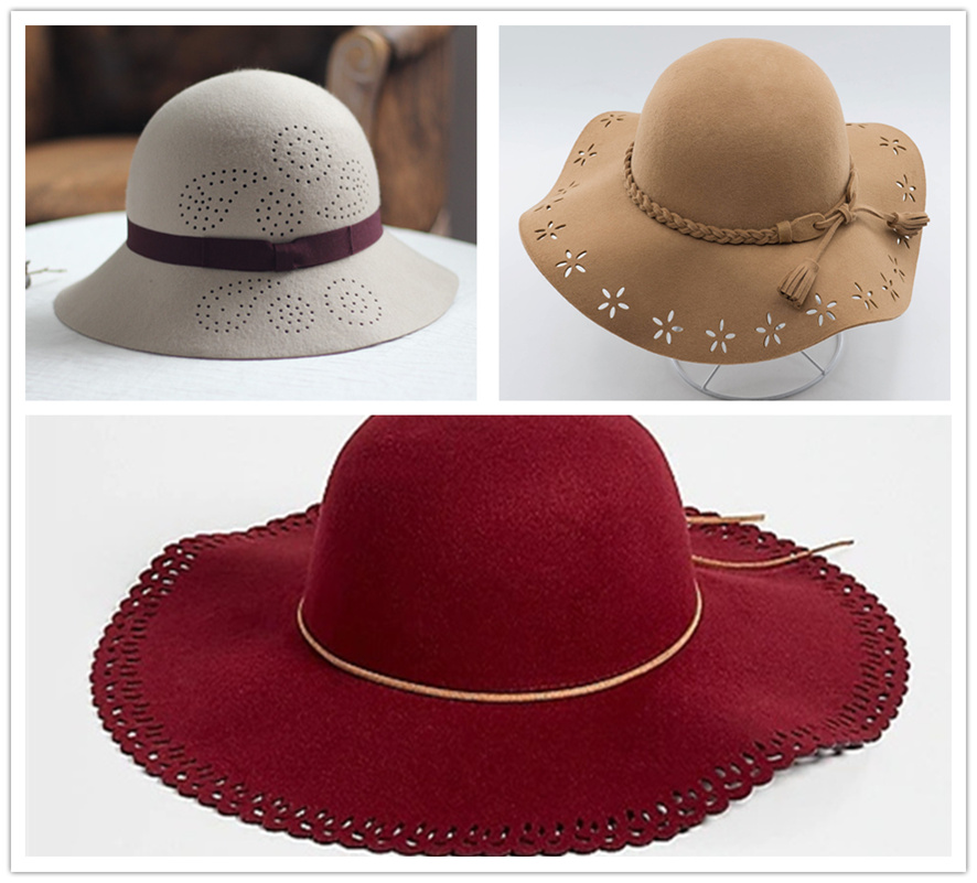 毛毡布料帽子激光雕花打孔毛绒帽子激光雕花打孔