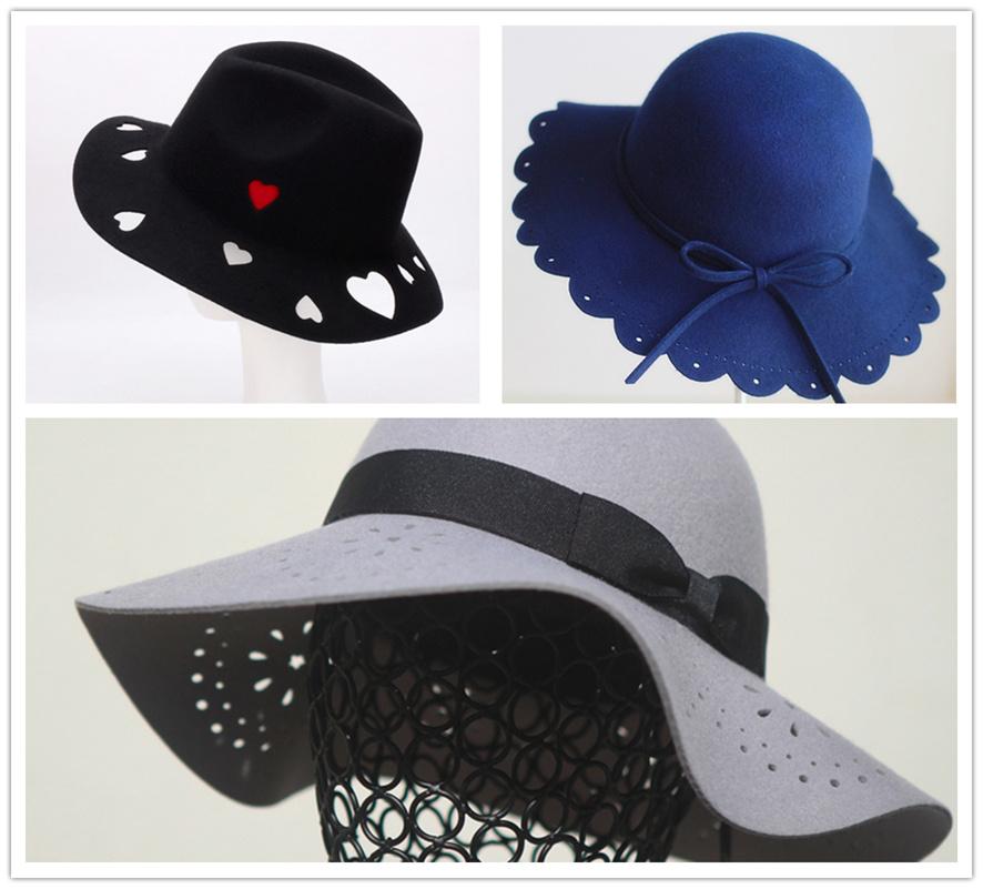 毛毡布料帽子激光雕花打孔