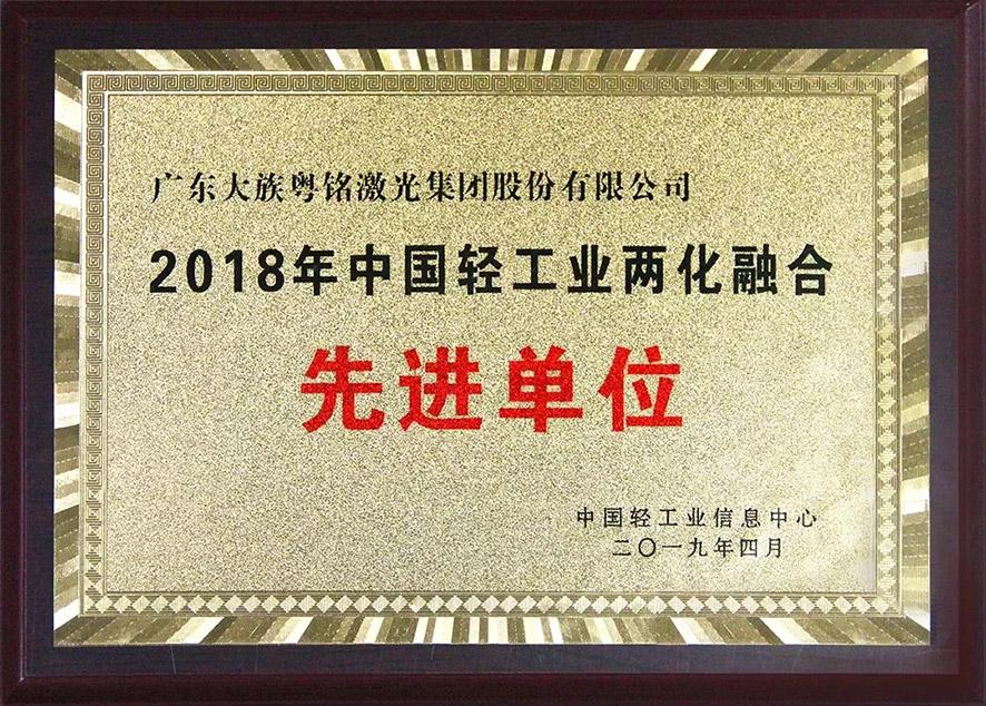 """喜讯!我司荣获""""2018在中国轻工业两化融合先进单位"""""""